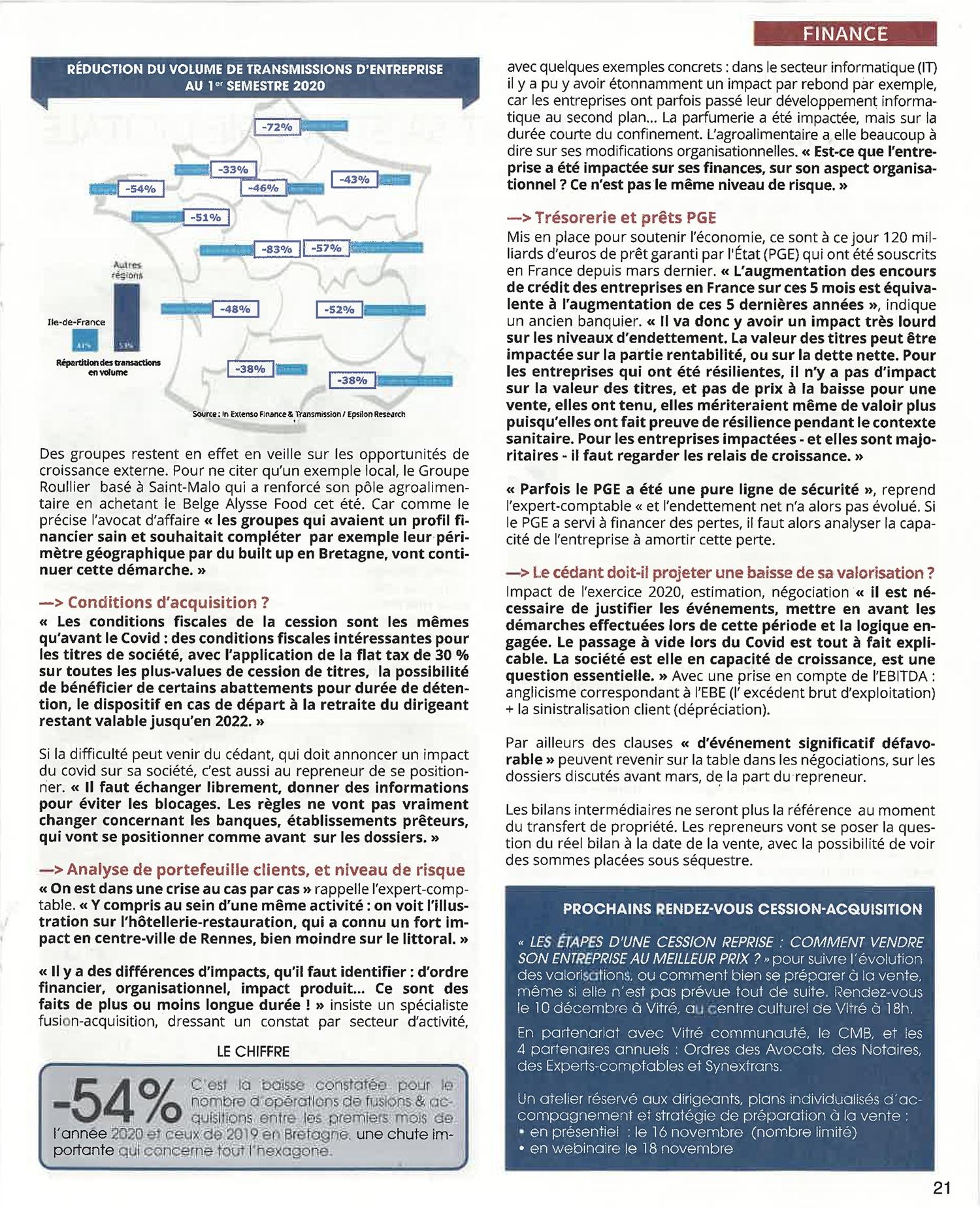 Transmission acquisition entreprise